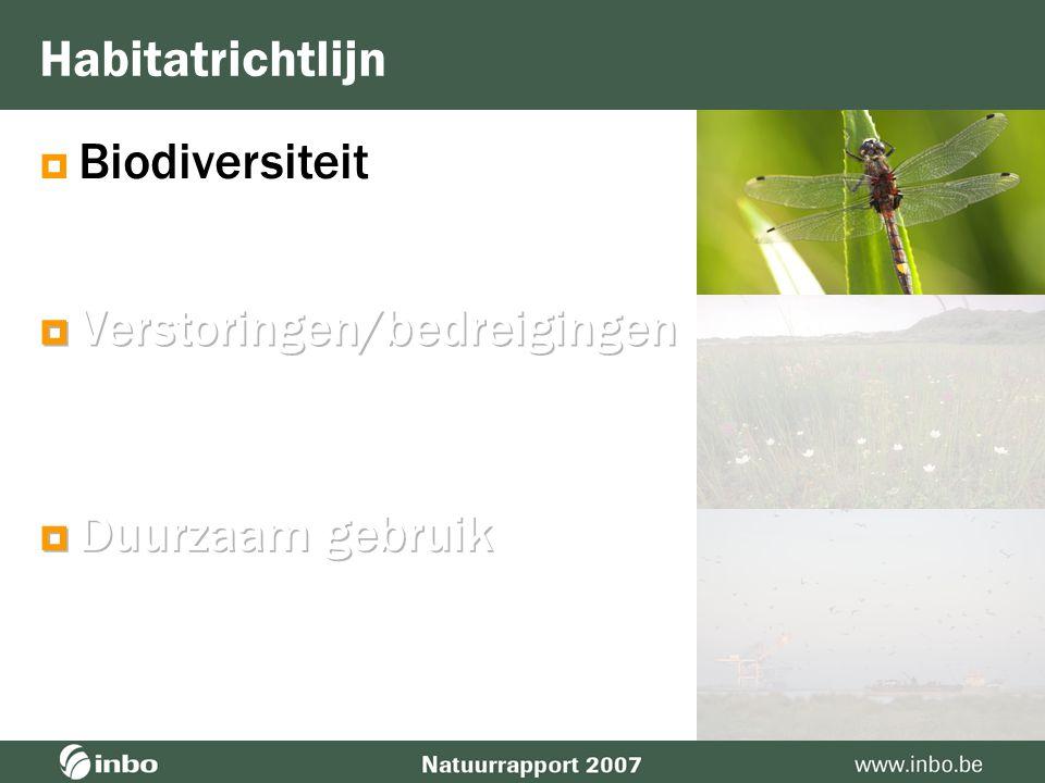 Biodiversiteit Habitatrichtlijn  Verstoringen/bedreigingen  Duurzaam gebruik