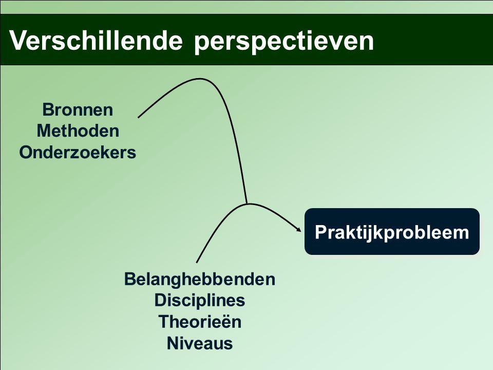 Belanghebbenden Disciplines Theorieën Niveaus Verschillende perspectieven Praktijkprobleem Bronnen Methoden Onderzoekers