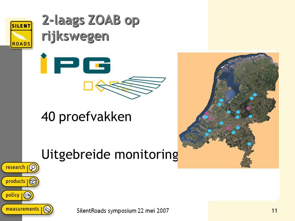 SilentRoads symposium 22 mei 200710 2-laags ZOAB binnenstedelijk Resultaten proefvakken 2-laags ZOAB in binnenstedelijke situaties