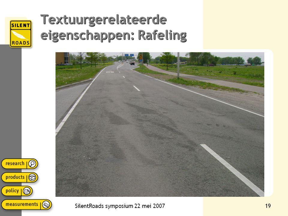 SilentRoads symposium 22 mei 200718 Registreren van verandering textuur in het spectrum Textuurgerelateerde verandering bijvoorbeeld: •Rafeling •Polij