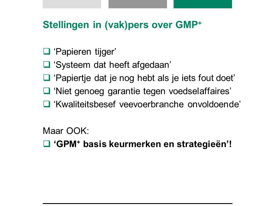 Stellingen in (vak)pers over GMP +  'Papieren tijger'  'Systeem dat heeft afgedaan'  'Papiertje dat je nog hebt als je iets fout doet'  'Niet geno