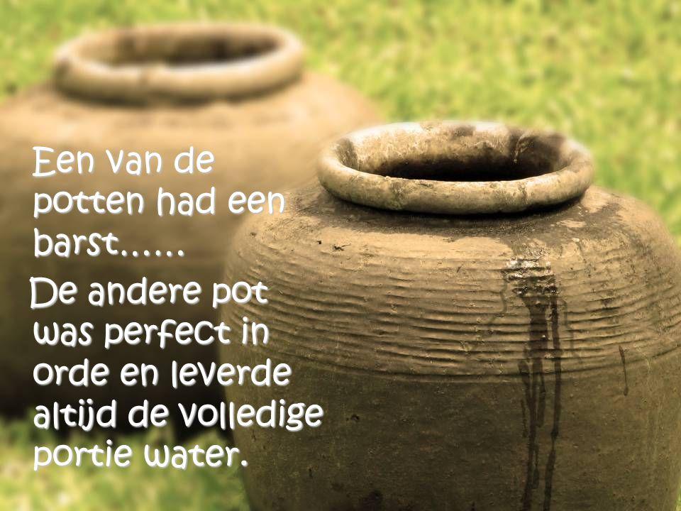 Een oudere chinese vrouw had twee grote potten, elke pot hing aan het einde van een stok, welke ze in haar nek droeg.