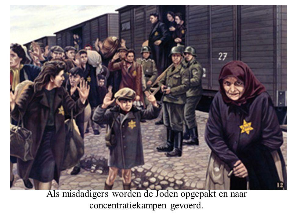 Als misdadigers worden de Joden opgepakt en naar concentratiekampen gevoerd.