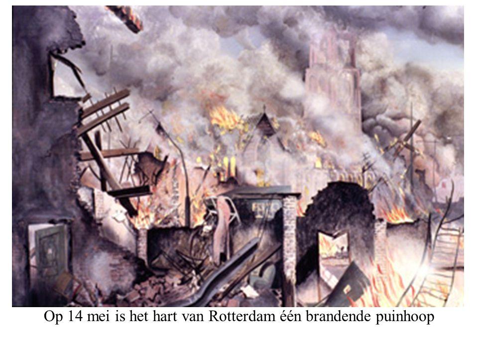 Op 14 mei is het hart van Rotterdam één brandende puinhoop