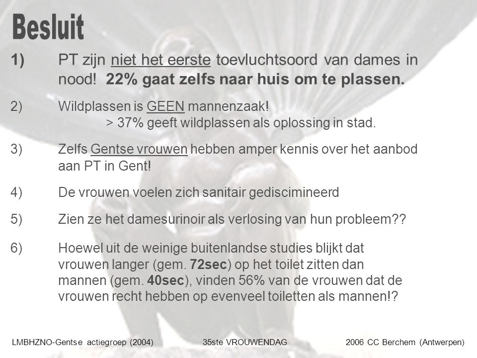 LMBHZNO-Gentse actiegroep (2004)35ste VROUWENDAG2006 CC Berchem (Antwerpen) 1) PT zijn niet het eerste toevluchtsoord van dames in nood!22% gaat zelfs naar huis om te plassen.