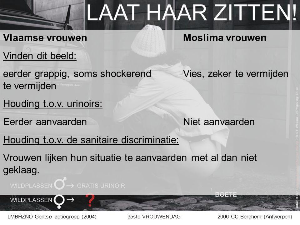 Vlaamse vrouwenMoslima vrouwen Vinden dit beeld: eerder grappig, soms shockerend Vies, zeker te vermijden te vermijden Houding t.o.v. urinoirs: Eerder