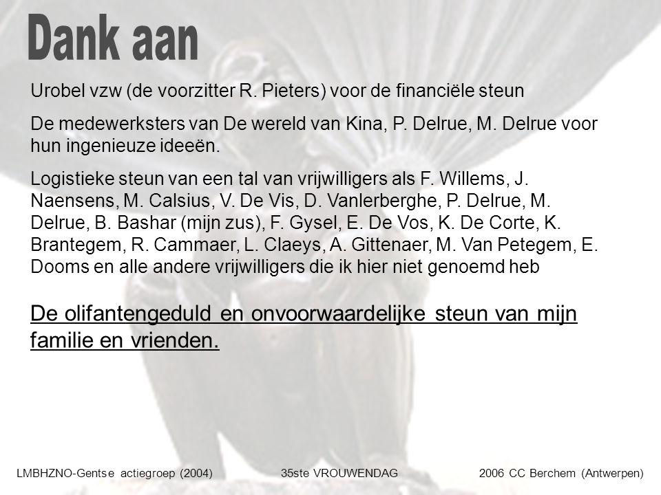 LMBHZNO-Gentse actiegroep (2004)35ste VROUWENDAG2006 CC Berchem (Antwerpen) Urobel vzw (de voorzitter R. Pieters) voor de financiële steun De medewerk