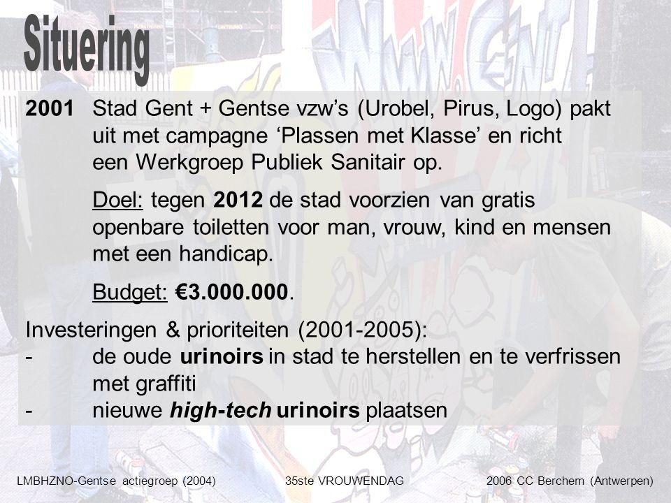 LMBHZNO-Gentse actiegroep (2004)35ste VROUWENDAG2006 CC Berchem (Antwerpen) 2001Stad Gent + Gentse vzw's (Urobel, Pirus, Logo) pakt uit met campagne 'Plassen met Klasse' en richt een Werkgroep Publiek Sanitair op.