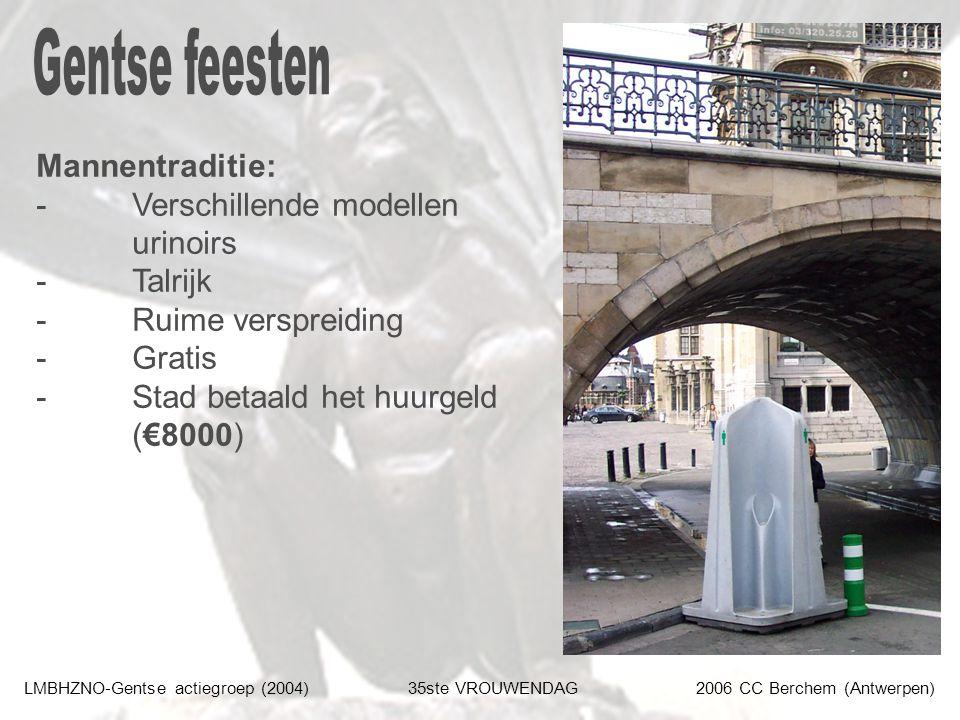 LMBHZNO-Gentse actiegroep (2004)35ste VROUWENDAG2006 CC Berchem (Antwerpen) Mannentraditie: - Verschillende modellen urinoirs - Talrijk - Ruime verspreiding - Gratis - Stad betaald het huurgeld (€8000)