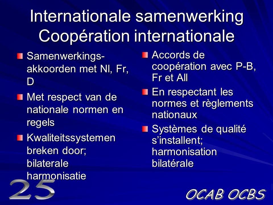 Internationale samenwerking Coopération internationale Samenwerkings- akkoorden met Nl, Fr, D Met respect van de nationale normen en regels Kwaliteitssystemen breken door; bilaterale harmonisatie Accords de coopération avec P-B, Fr et All En respectant les normes et règlements nationaux Systèmes de qualité s'installent; harmonisation bilatérale