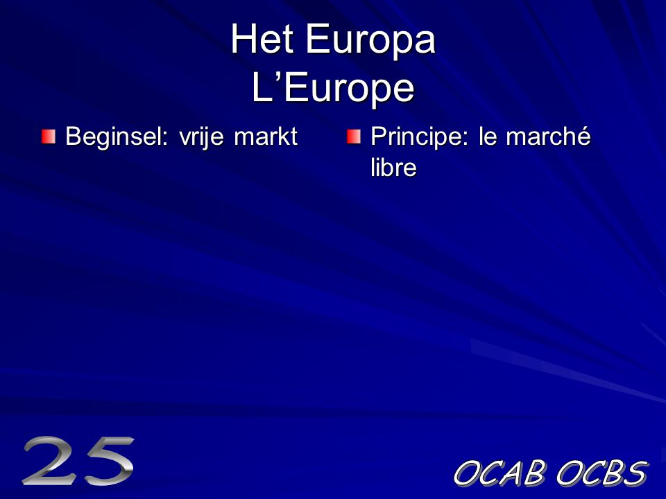 Het Europa L'Europe Beginsel: vrije markt Principe: le marché libre