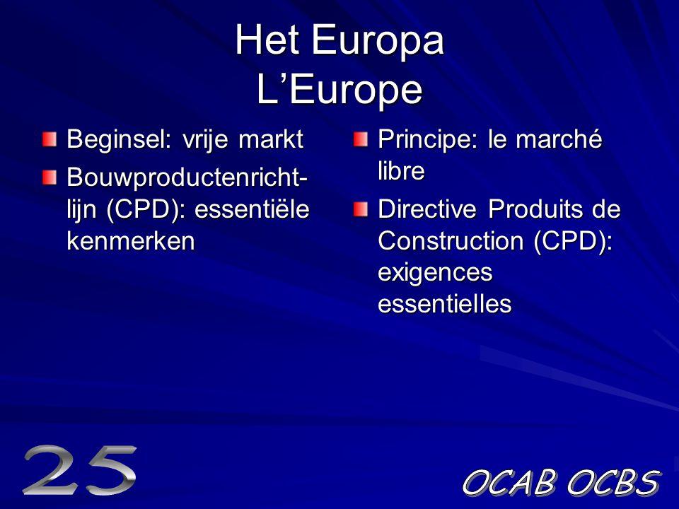 Het Europa L'Europe Beginsel: vrije markt Bouwproductenricht- lijn (CPD): essentiële kenmerken Principe: le marché libre Directive Produits de Construction (CPD): exigences essentielles