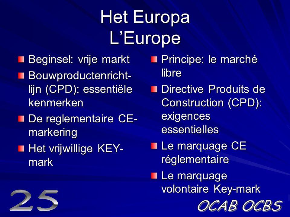 Het Europa L'Europe Beginsel: vrije markt Bouwproductenricht- lijn (CPD): essentiële kenmerken De reglementaire CE- markering Het vrijwillige KEY- mark Principe: le marché libre Directive Produits de Construction (CPD): exigences essentielles Le marquage CE réglementaire Le marquage volontaire Key-mark
