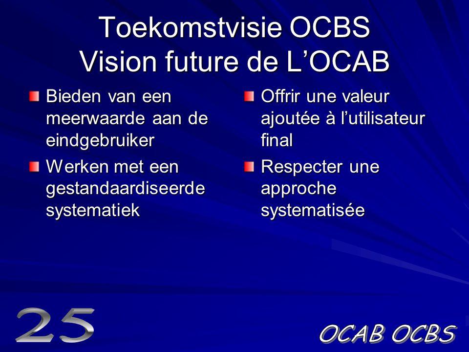Toekomstvisie OCBS Vision future de L'OCAB Bieden van een meerwaarde aan de eindgebruiker Werken met een gestandaardiseerde systematiek Offrir une valeur ajoutée à l'utilisateur final Respecter une approche systematisée
