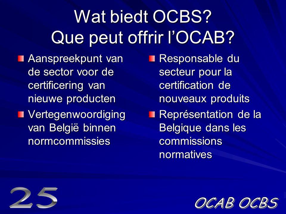Wat biedt OCBS.Que peut offrir l'OCAB.