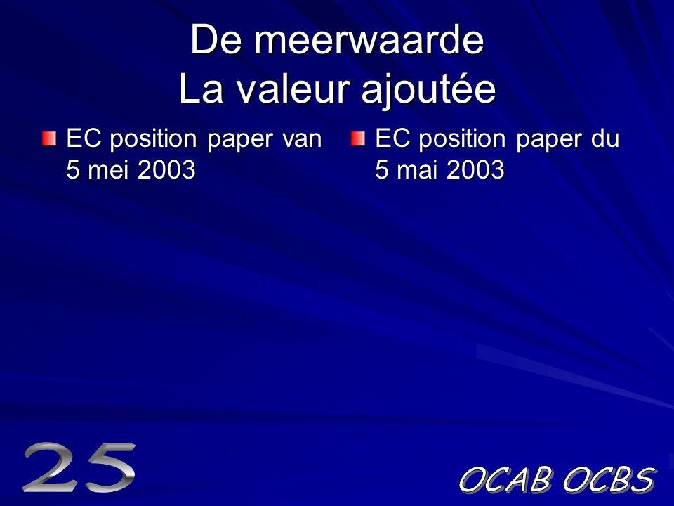 De meerwaarde La valeur ajoutée EC position paper van 5 mei 2003 EC position paper du 5 mai 2003