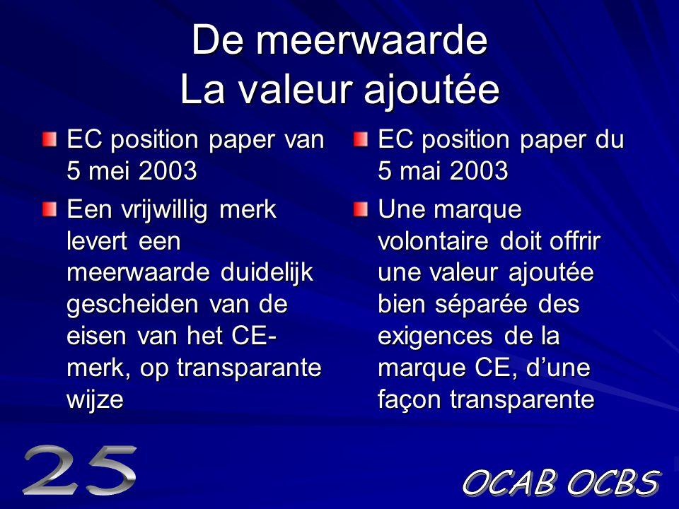 De meerwaarde La valeur ajoutée EC position paper van 5 mei 2003 Een vrijwillig merk levert een meerwaarde duidelijk gescheiden van de eisen van het CE- merk, op transparante wijze EC position paper du 5 mai 2003 Une marque volontaire doit offrir une valeur ajoutée bien séparée des exigences de la marque CE, d'une façon transparente