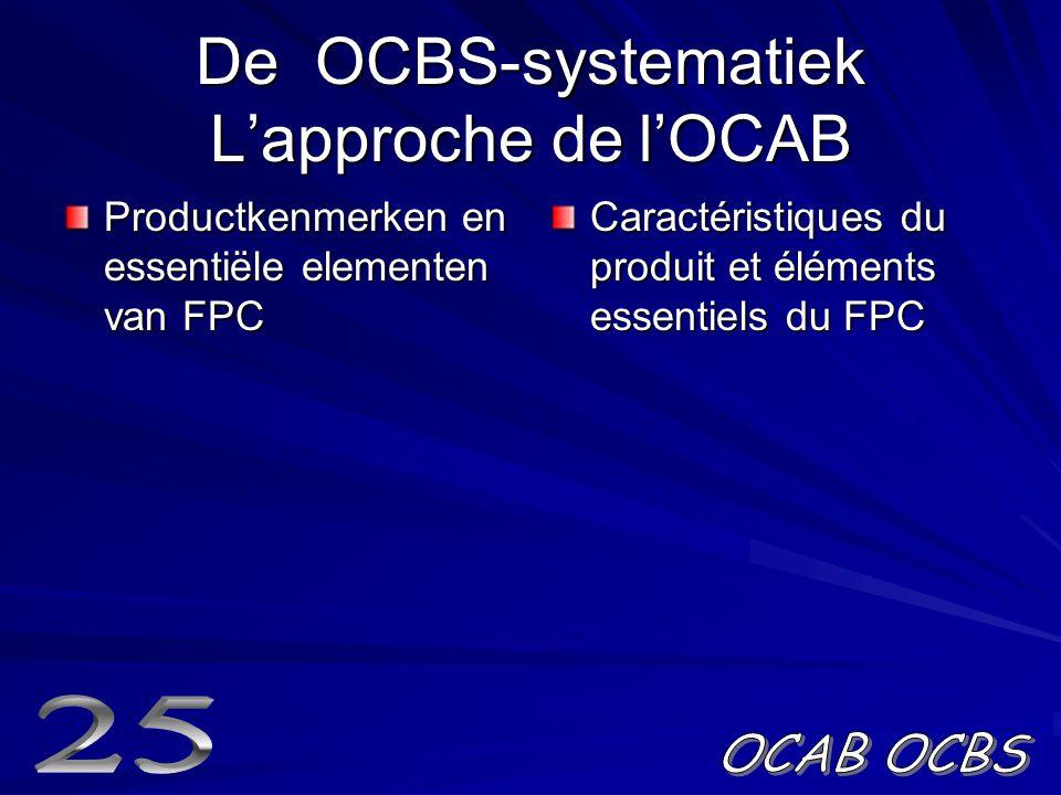 De OCBS-systematiek L'approche de l'OCAB Productkenmerken en essentiële elementen van FPC Caractéristiques du produit et éléments essentiels du FPC