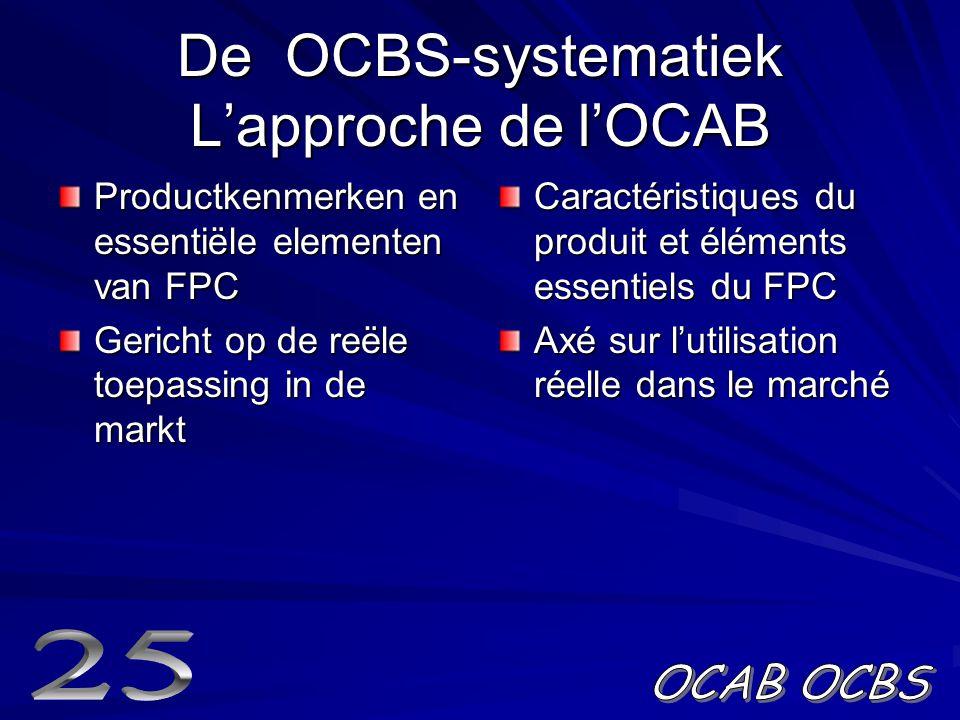 De OCBS-systematiek L'approche de l'OCAB Productkenmerken en essentiële elementen van FPC Gericht op de reële toepassing in de markt Caractéristiques du produit et éléments essentiels du FPC Axé sur l'utilisation réelle dans le marché