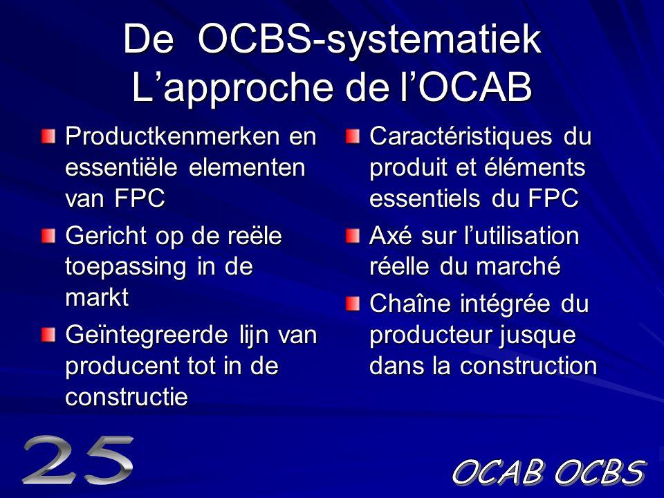 De OCBS-systematiek L'approche de l'OCAB Productkenmerken en essentiële elementen van FPC Gericht op de reële toepassing in de markt Geïntegreerde lijn van producent tot in de constructie Caractéristiques du produit et éléments essentiels du FPC Axé sur l'utilisation réelle du marché Chaîne intégrée du producteur jusque dans la construction