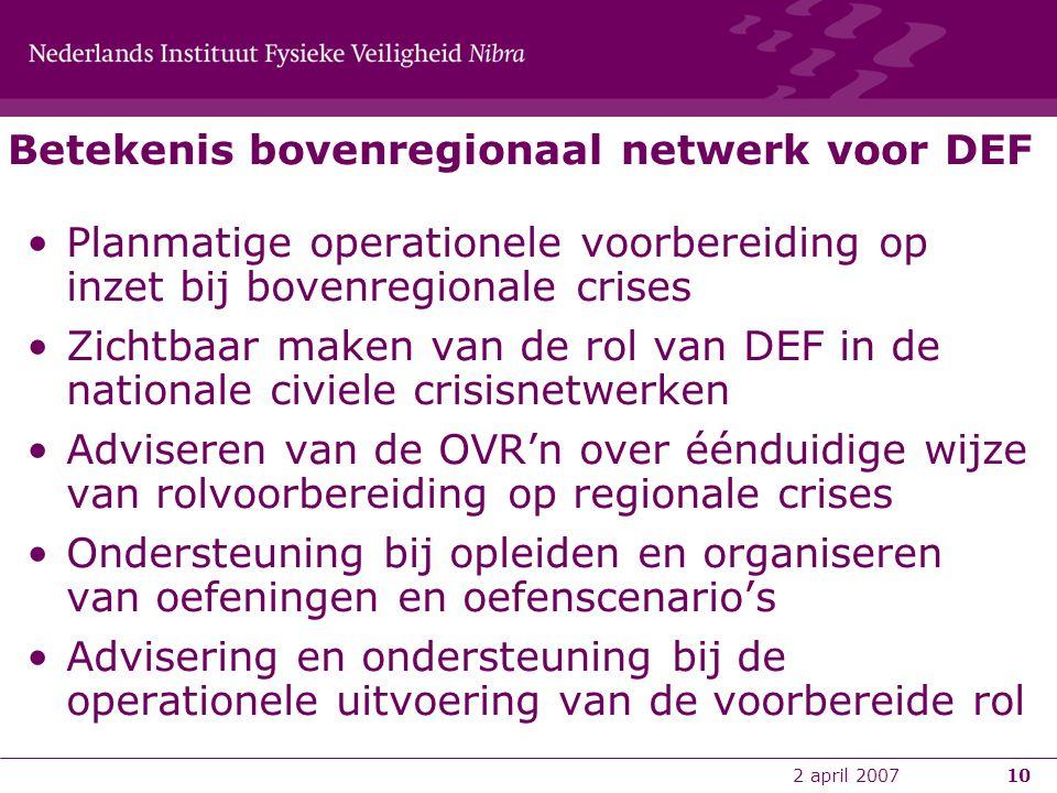 2 april 200710 Betekenis bovenregionaal netwerk voor DEF •Planmatige operationele voorbereiding op inzet bij bovenregionale crises •Zichtbaar maken va