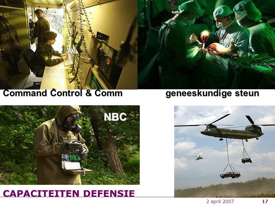 2 april 200717 geneeskundige steun Command Control & Comm NBC CAPACITEITEN DEFENSIE
