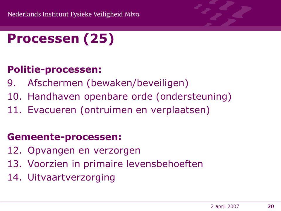 2 april 200720 Processen (25) Politie-processen: 9.Afschermen (bewaken/beveiligen) 10.Handhaven openbare orde (ondersteuning) 11.Evacueren (ontruimen