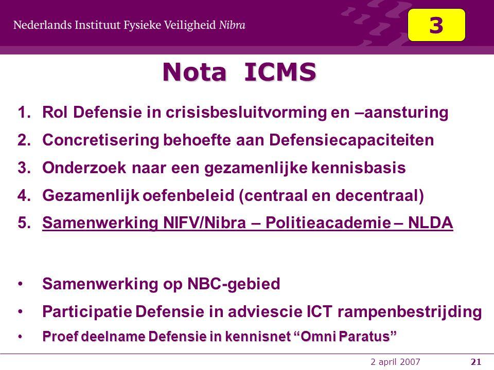 2 april 200721 Nota ICMS 1.Rol Defensie in crisisbesluitvorming en –aansturing 2.Concretisering behoefte aan Defensiecapaciteiten 3.Onderzoek naar een
