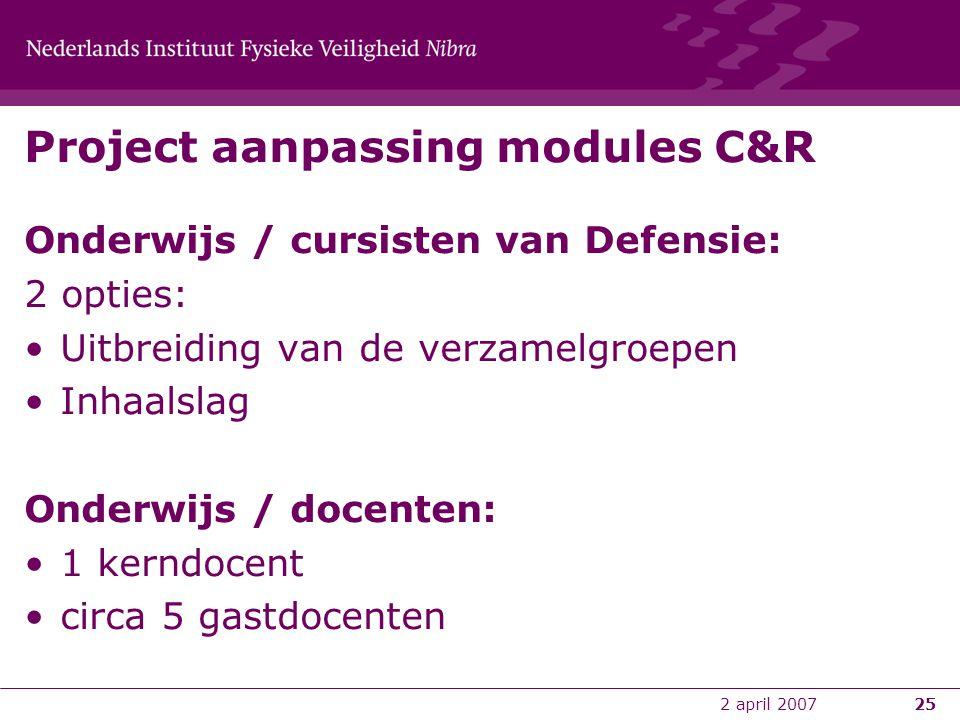 2 april 200725 Project aanpassing modules C&R Onderwijs / cursisten van Defensie: 2 opties: •Uitbreiding van de verzamelgroepen •Inhaalslag Onderwijs