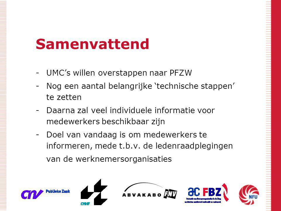 Samenvattend -UMC's willen overstappen naar PFZW -Nog een aantal belangrijke 'technische stappen' te zetten -Daarna zal veel individuele informatie vo