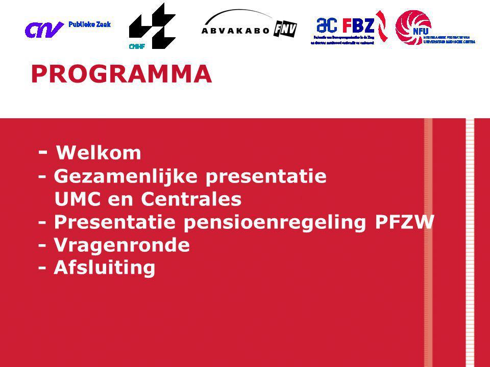 - Welkom - Gezamenlijke presentatie UMC en Centrales - Presentatie pensioenregeling PFZW - Vragenronde - Afsluiting PROGRAMMA