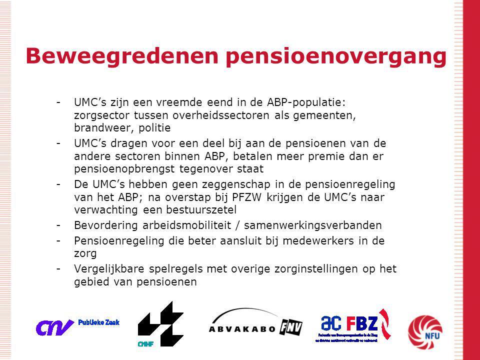 Beweegredenen pensioenovergang -UMC's zijn een vreemde eend in de ABP-populatie: zorgsector tussen overheidssectoren als gemeenten, brandweer, politie