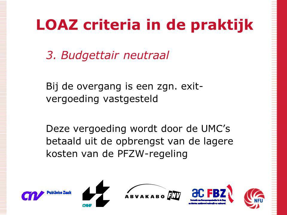 LOAZ criteria in de praktijk 3. Budgettair neutraal Bij de overgang is een zgn. exit- vergoeding vastgesteld Deze vergoeding wordt door de UMC's betaa