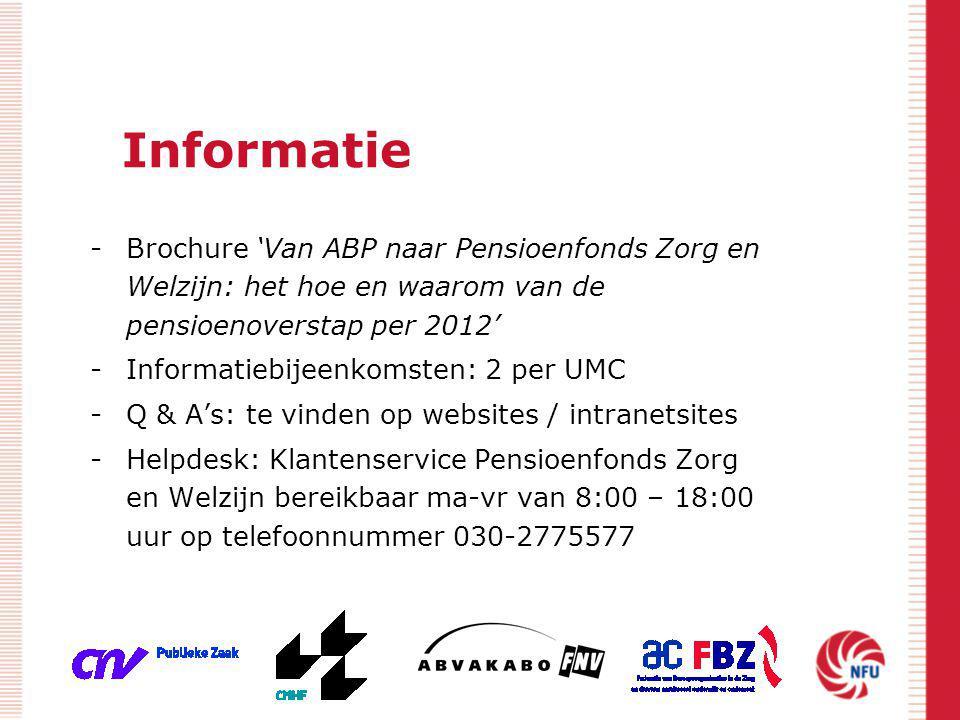 Informatie -Brochure 'Van ABP naar Pensioenfonds Zorg en Welzijn: het hoe en waarom van de pensioenoverstap per 2012' -Informatiebijeenkomsten: 2 per