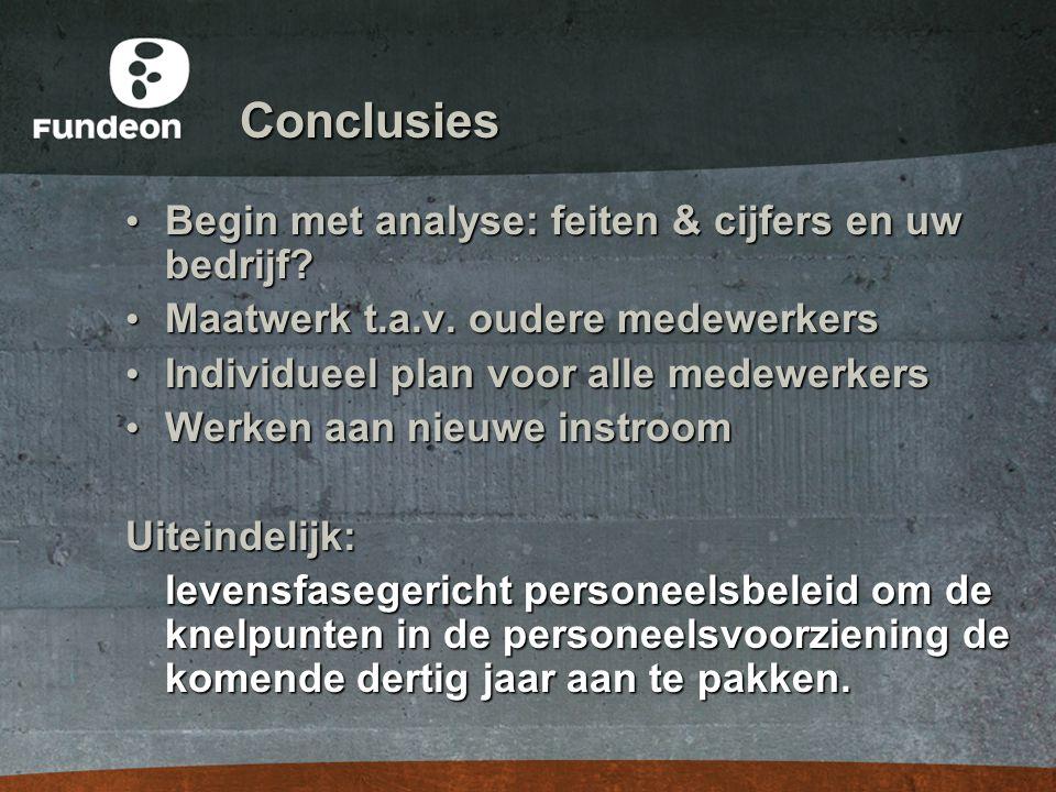 Conclusies • Begin met analyse: feiten & cijfers en uw bedrijf? • Maatwerk t.a.v. oudere medewerkers • Individueel plan voor alle medewerkers • Werken