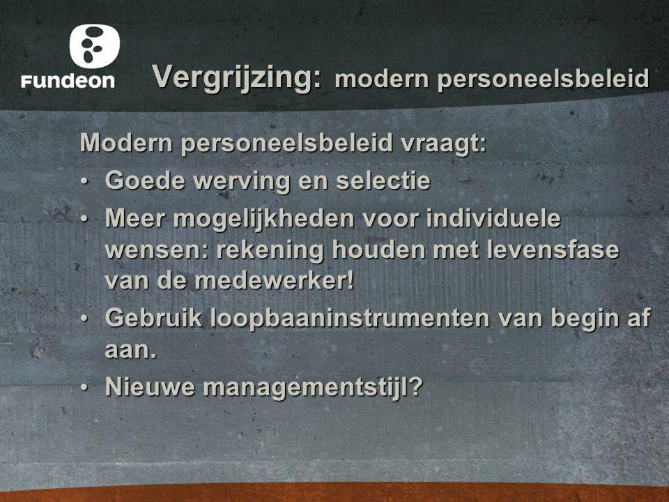 Vergrijzing: modern personeelsbeleid Modern personeelsbeleid vraagt: • Goede werving en selectie • Meer mogelijkheden voor individuele wensen: rekenin