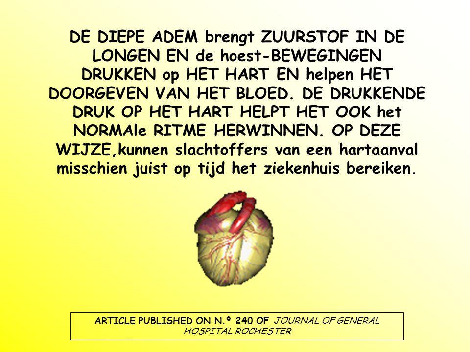 DE DIEPE ADEM brengt ZUURSTOF IN DE LONGEN EN de hoest-BEWEGINGEN DRUKKEN op HET HART EN helpen HET DOORGEVEN VAN HET BLOED.
