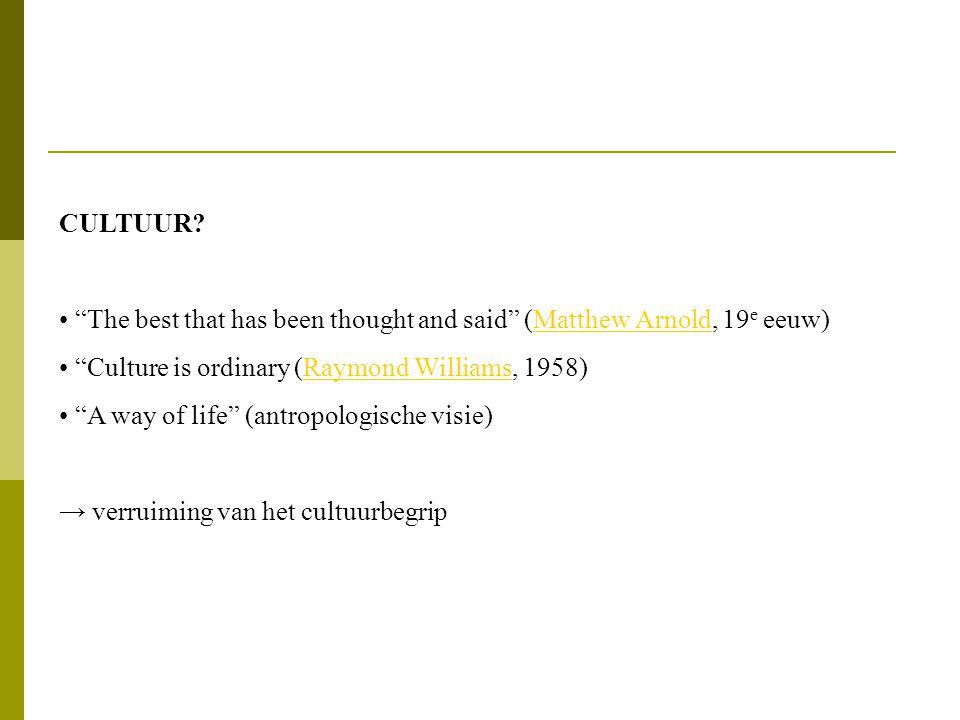MYTHE • Een concept waarvan de betekenis gepresenteerd wordt als 'natuurlijk' en vanzelfsprekend • Een dominante ideologie (connotatie) in een bepaalde historische periode • Mythe = 'gedepolitiseerde spraak' ...it abolishes the complexity of human acts, it gives them the simplicity of essences (...) (Barthes, 1957/1972)Barthes