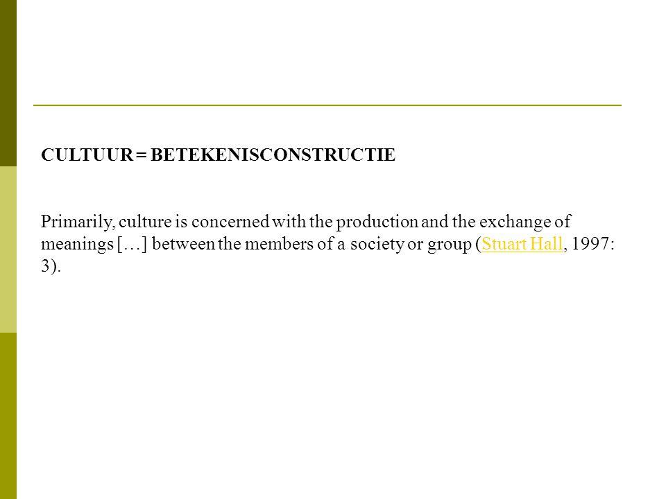 THE CIRCUIT OF CULTURE (Du Gay, 1997)Du Gay • Representatie • Identiteit • Productie • Consumptie • Regulering Doing a cultural study: Sony Walkman = Hoe wordt betekenis geconstrueerd en uitgewisseld via die 5 processen?