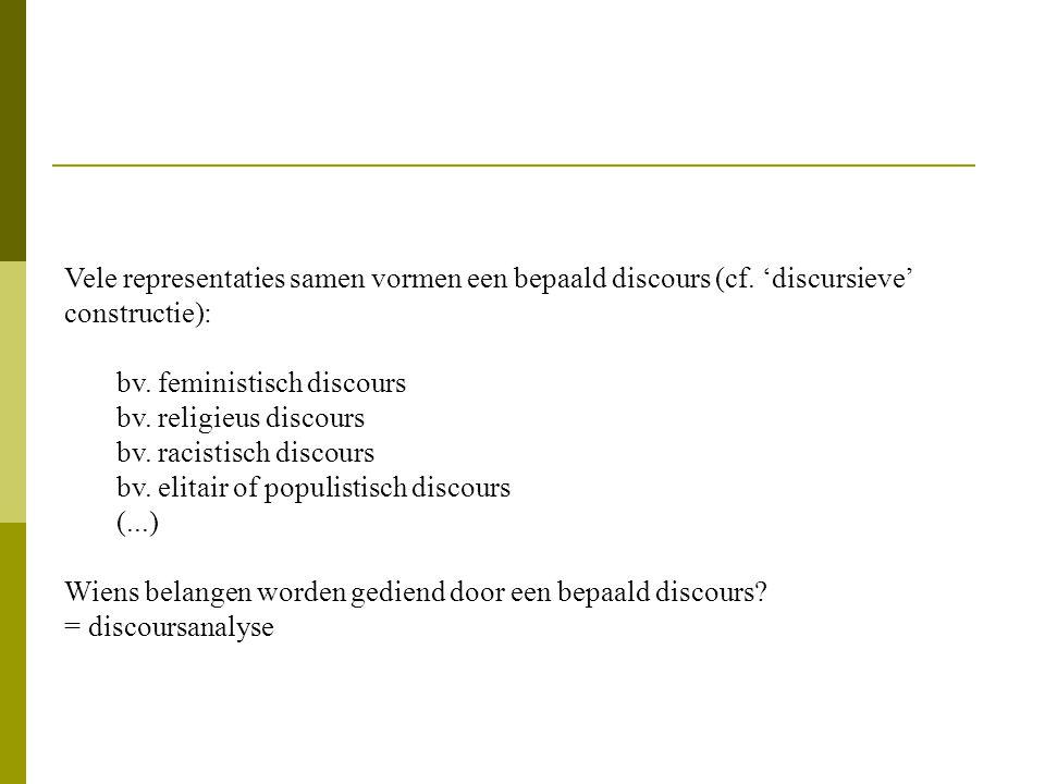 Vele representaties samen vormen een bepaald discours (cf.