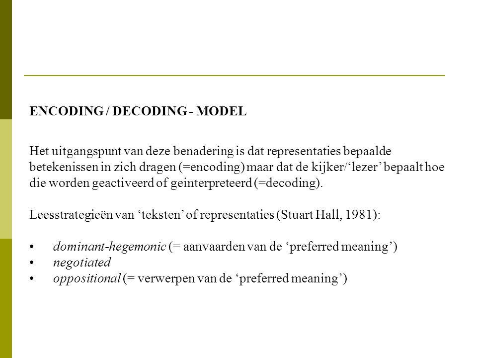 ENCODING / DECODING - MODEL Het uitgangspunt van deze benadering is dat representaties bepaalde betekenissen in zich dragen (=encoding) maar dat de kijker/'lezer' bepaalt hoe die worden geactiveerd of geinterpreteerd (=decoding).