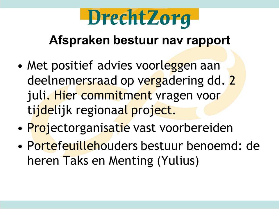 Afspraken bestuur nav rapport •Met positief advies voorleggen aan deelnemersraad op vergadering dd.