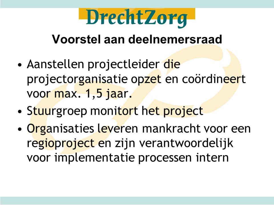 Voorstel aan deelnemersraad •Aanstellen projectleider die projectorganisatie opzet en coördineert voor max. 1,5 jaar. •Stuurgroep monitort het project