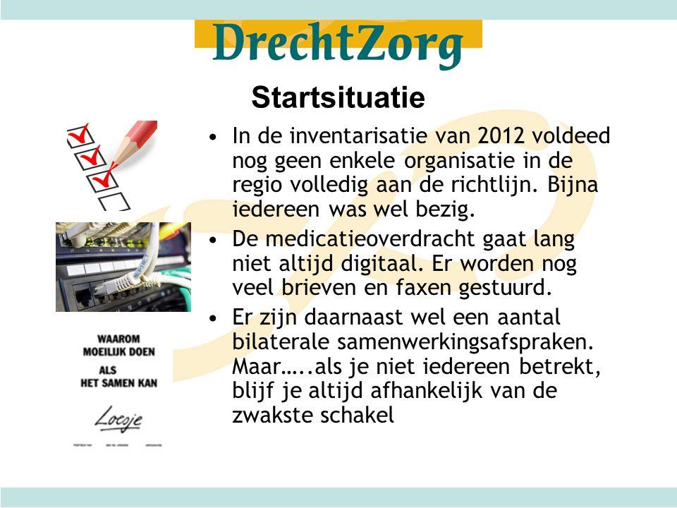 Startsituatie •In de inventarisatie van 2012 voldeed nog geen enkele organisatie in de regio volledig aan de richtlijn. Bijna iedereen was wel bezig.
