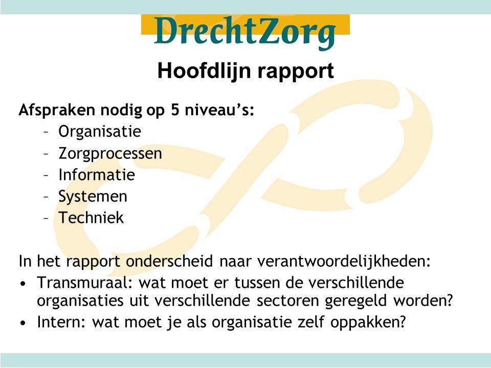 Hoofdlijn rapport Afspraken nodig op 5 niveau's: –Organisatie –Zorgprocessen –Informatie –Systemen –Techniek In het rapport onderscheid naar verantwoo