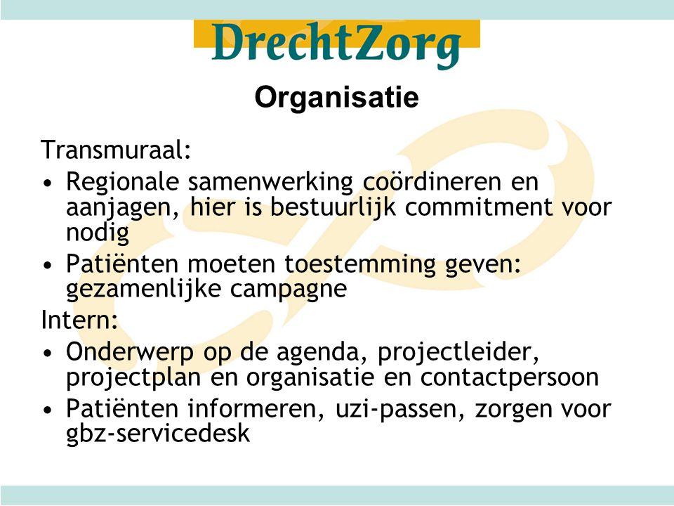 Organisatie Transmuraal: •Regionale samenwerking coördineren en aanjagen, hier is bestuurlijk commitment voor nodig •Patiënten moeten toestemming geve