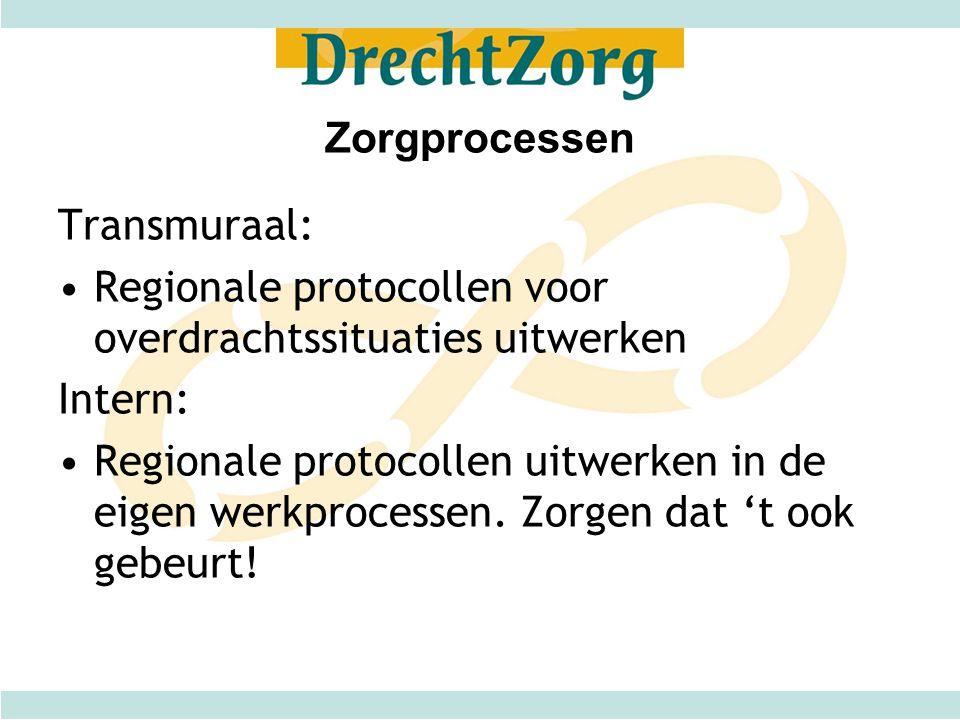Zorgprocessen Transmuraal: •Regionale protocollen voor overdrachtssituaties uitwerken Intern: •Regionale protocollen uitwerken in de eigen werkprocess