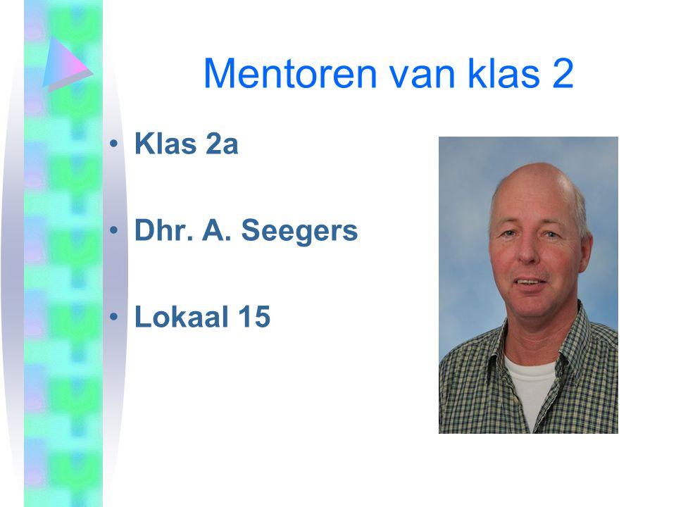 Mentoren van klas 2 •Klas 2a •Dhr. A. Seegers •Lokaal 15