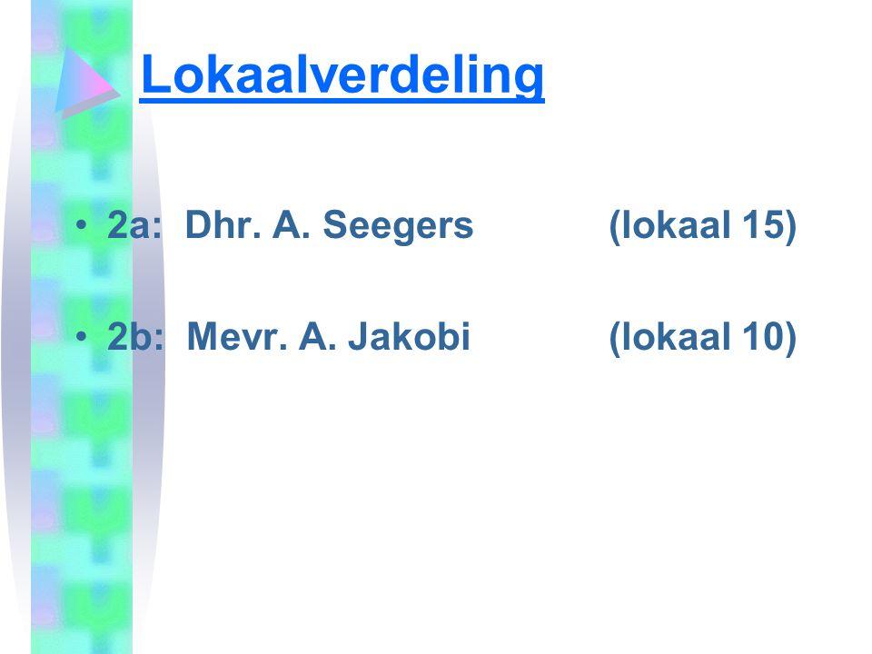 Lokaalverdeling •2a: Dhr. A. Seegers (lokaal 15) •2b: Mevr. A. Jakobi (lokaal 10)
