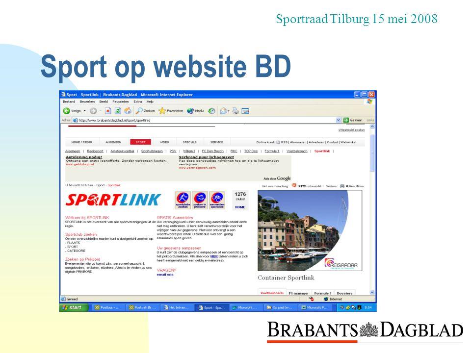 Sport op website BD Sportraad Tilburg 15 mei 2008